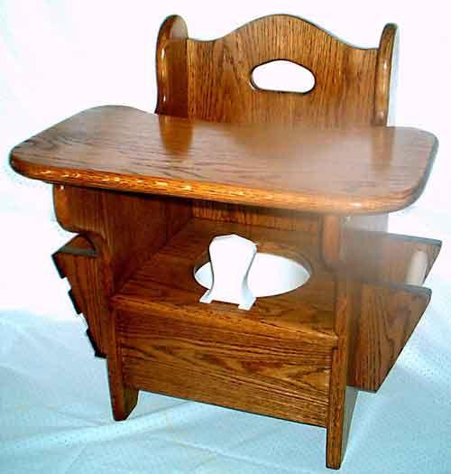 Oak Potty Chair w/ tray medium dark stain & Natures Business- Kids Stuff